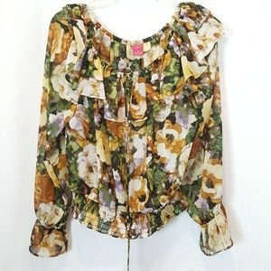 Sunny Leigh | Floral Chiffon Peasant Blouse